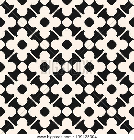 Vector seamless pattern in oriental style. Monochrome geometric ornament, abstract background texture with floral shapes, circles, delicate lattice. Repeat design for prints, textile, fabric, decor. Ornamental pattern, floral pattern.