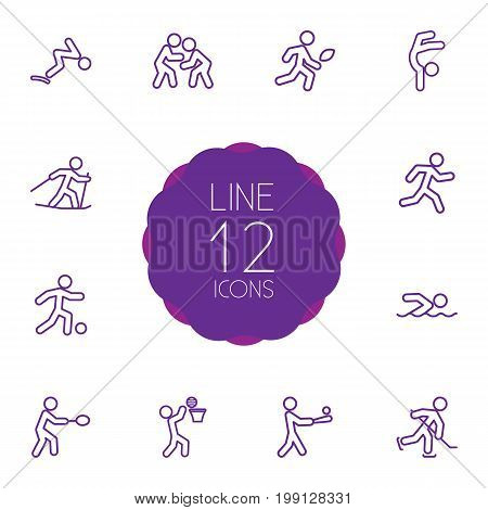 Collection Of Gymnastic, Fight, Swimming And Other Elements.  Set Of 12 Fitness Outline Icons Set.