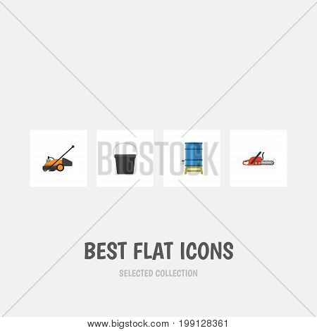 Flat Icon Garden Set Of Lawn Mower, Container, Pail And Other Vector Objects