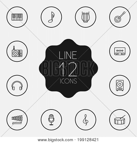 Collection Of Wooden Block, Musical Sign, Record And Other Elements.  Set Of 12 Melody Outline Icons Set.