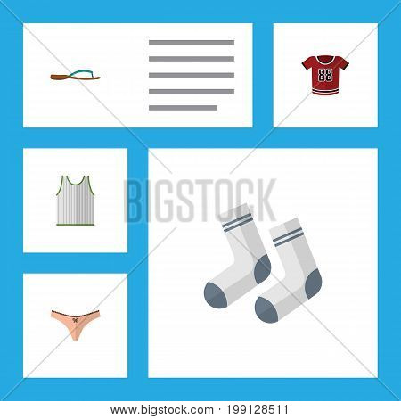 Flat Icon Clothes Set Of Singlet, Lingerie, Beach Sandal Vector Objects