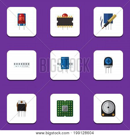 Flat Icon Appliance Set Of Microprocessor, Recipient, Receiver And Other Vector Objects