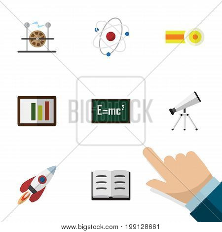Flat Icon Study Set Of Theory Of Relativity, Electrical Engine, Lecture And Other Vector Objects