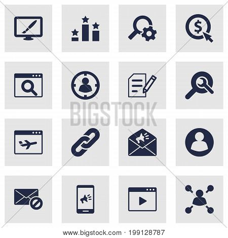 Collection Of Guest, Targeting, Movie And Other Elements.  Set Of 16 Engine Icons Set.
