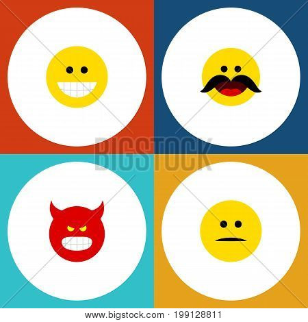 Flat Icon Emoji Set Of Cheerful, Displeased, Grin And Other Vector Objects