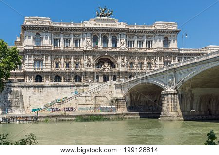 ROME, ITALY - JUNE 22, 2017: Amazing view of The Supreme Court of Cassation and Tiber River in city of Rome, Italy