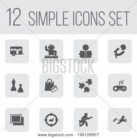 Collection Of Disco, Checkmate, Playing And Other Elements.  Set Of 12 Entertainment Icons Set.