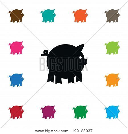 Pig Vector Element Can Be Used For Pig, Piggy, Swine Design Concept.  Isolated Piggy Icon.