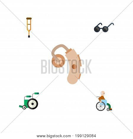 Flat Icon Handicapped Set Of Spectacles, Equipment, Stand Vector Objects