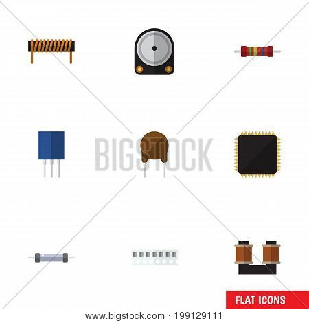 Flat Icon Appliance Set Of Receptacle, Resistor, Cpu And Other Vector Objects