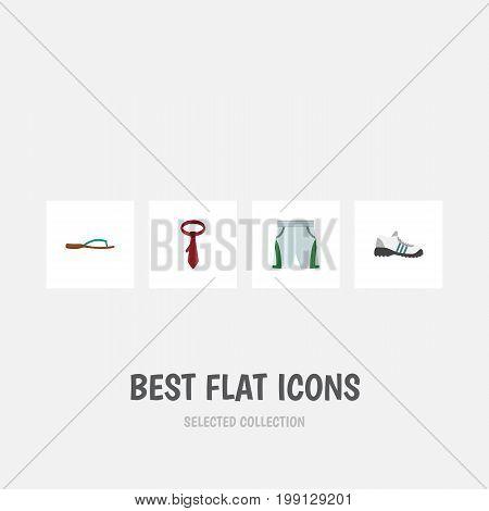 Flat Icon Garment Set Of Cravat, Beach Sandal, Trunks Cloth Vector Objects