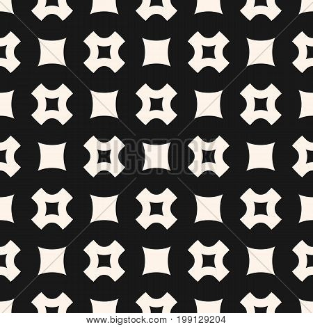 Vector seamless pattern, simple geometric texture with rounded squares, smooth perforated crosses in staggered array. Stylish dark abstract minimalist background. Design element for prints, decor, web.
