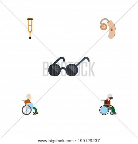 Flat Icon Handicapped Set Of Handicapped Man, Spectacles, Wheelchair Vector Objects