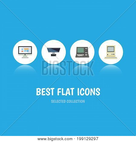 Flat Icon Computer Set Of PC, Technology, Computing And Other Vector Objects