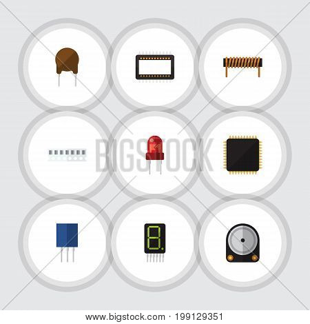 Flat Icon Appliance Set Of Display, Hdd, Bobbin And Other Vector Objects