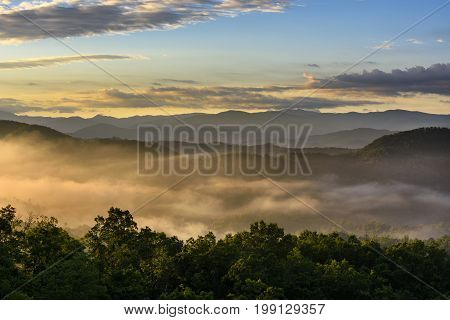 Mountain View at Sunrise with Fog in Valley