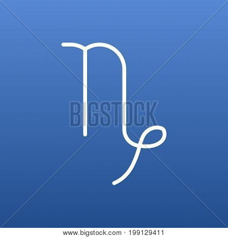 Vector Capricorn Element In Trendy Style.  Isolated Goat Outline Symbol On Clean Background.