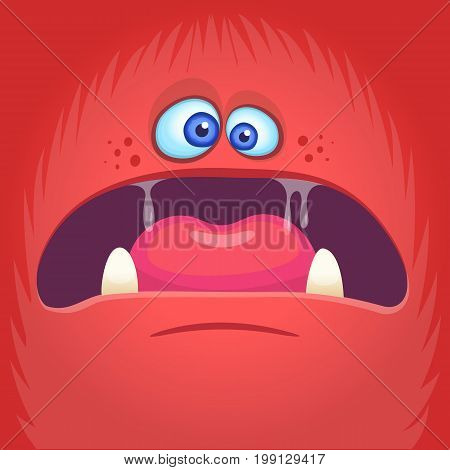 Scary cartoon angry monster face avatar. Halloween vector illustration of monster mask. Funny gremlin or troll