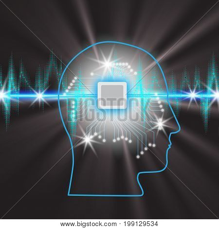 Human brain with a microcircuit in the head, concept of working with a pulse band with Glowing Lights, Sound waves oscillating glow , robot technology background , vector illustration.