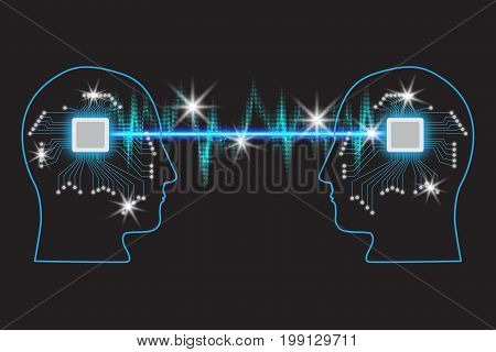Teamwork and Leadership with education symbol represented by two human heads shaped with Glowing Neon Lights and Microcircuits representing the concept of intellectual communication through technology exchange and ideas.