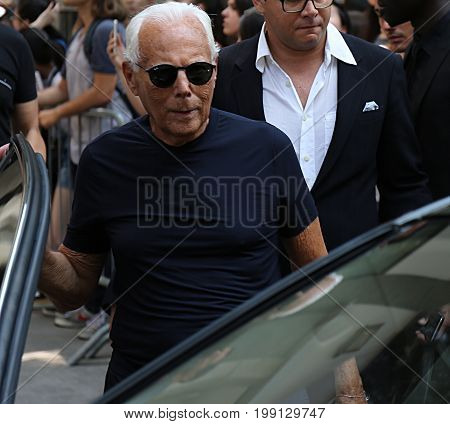 MILAN- 17 June 2017 Giorgio Armani on the street during the Milan Fashion Week