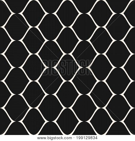 Subtle mesh texture. Vector seamless pattern. Simple illustration of delicate lattice, lace, fishnet. Abstract geometric monochrome repeat background. Dark design for prints, decor, fabric, package.