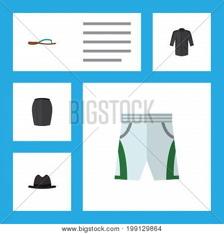 Flat Icon Garment Set Of Uniform, Trunks Cloth, Panama And Other Vector Objects