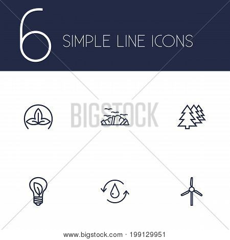 Collection Of Eco, Charge, Wind Turbine And Other Elements.  Set Of 6 Ecology Outline Icons Set.