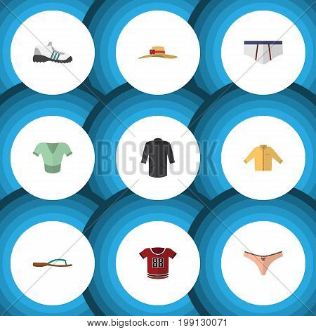 Flat Icon Clothes Set Of Sneakers, Banyan, Casual And Other Vector Objects