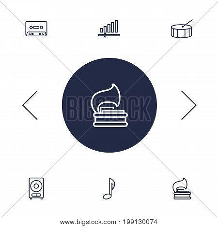 Collection Of Record, Percussion, Vinyl And Other Elements.  Set Of 6 Music Outline Icons Set.