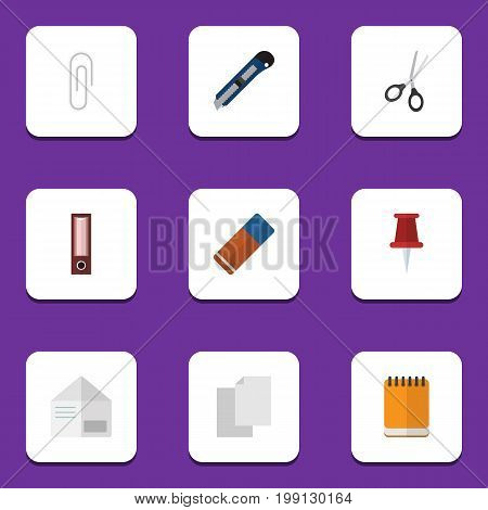 Flat Icon Tool Set Of Fastener Page, Notepaper, Pushpin And Other Vector Objects