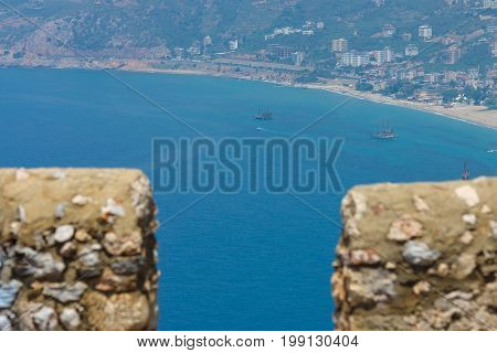 City beach of Alanya. View from the ancient fortress of Alanya. Turkey.