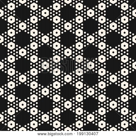 Vector monochrome texture, simple geometric seamless pattern with different hexagons. Black abstract modern background, repeat tiles. Design element for textile, decor, covers, package, digital, web.