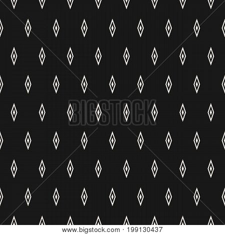 Argyle vector seamless pattern simple geometric texture with small rhombuses. Abstract monochrome minimalist background, repeat tiles. Stylish dark design for decor, fabric, textile, package, covers.