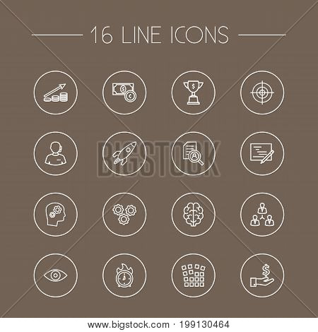 Collection Of Grid Structure, Deadline, Solution And Other Elements.  Set Of 16 Strategy Outline Icons Set.