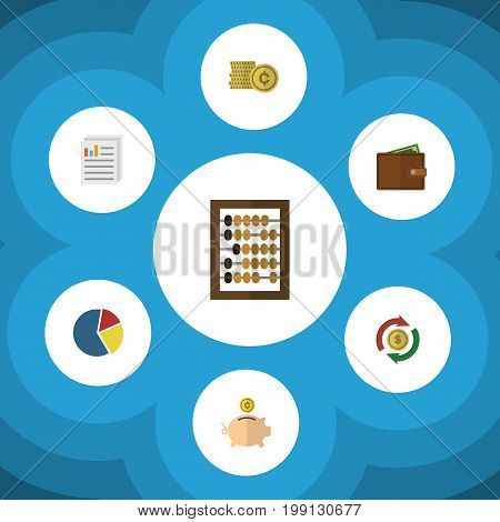 Flat Icon Gain Set Of Graph, Money Box, Document And Other Vector Objects