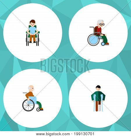 Flat Icon Handicapped Set Of Wheelchair, Handicapped Man, Injured Vector Objects