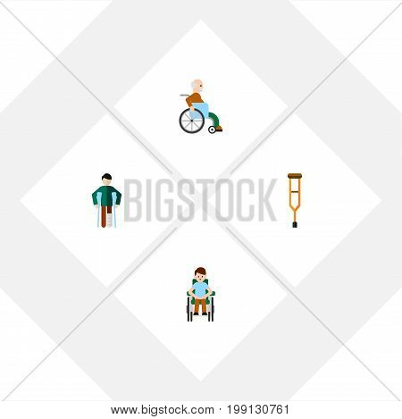 Flat Icon Handicapped Set Of Disabled Person, Stand, Handicapped Man Vector Objects