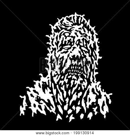 Rotten head of zombie. Vector illustration. Black and white colors. The horror genre. Scary character face.
