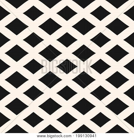 Diamonds seamless pattern. Vector geometric texture with lozenges rhombuses. Simple abstract monochrome background with intersecting lines, lattice, mesh. Repeat design for tileable print, decoration. Geometric pattern, diagonal pattern.