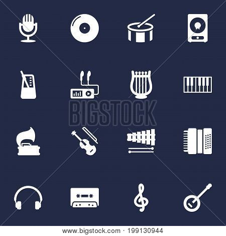 Collection Of Fiddle, Banjo, Turntable And Other Elements.  Set Of 16 Music Icons Set.