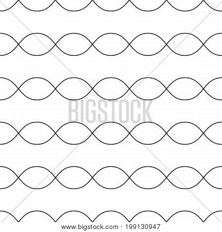 Horizontal wavy lines seamless pattern. Subtle abstract geometric background. Minimalist endless texture. Thin curved waves, chains DNA. Design pattern, textile pattern, covers pattern, digital pattern, web pattern, decor pattern, fabric pattern.