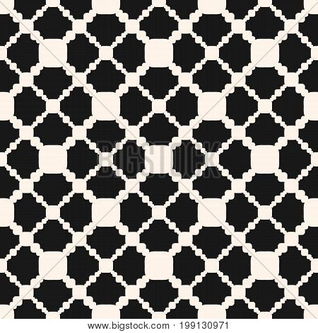 Ornamental seamless pattern. Vector geometric texture with carved shapes, diagonal square grid. Abstract monochrome ornament background, repeat tiles. Design for home, decor, ceramic, textile, fabric. Design pattern, textile pattern.