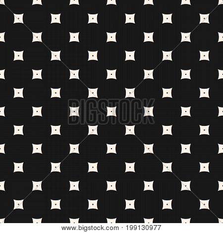 Geometric seamless pattern, simple vector texture with small smooth perforated squares. Subtle abstract monochrome background, repeat tiles. Dark stylish design for prints, home, decor, covers, fabric.