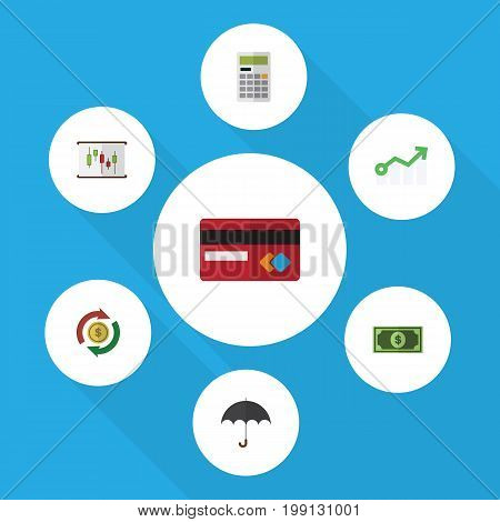 Flat Icon Finance Set Of Interchange, Parasol, Greenback And Other Vector Objects