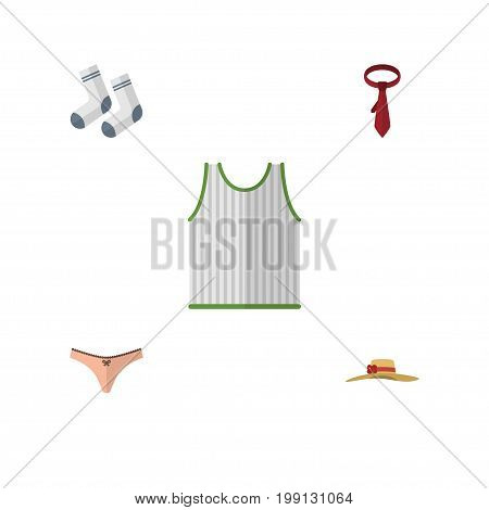 Flat Icon Clothes Set Of Lingerie, Foot Textile, Cravat And Other Vector Objects