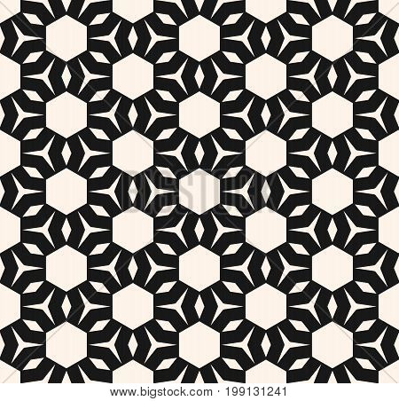 Vector geometric texture. Modern abstract seamless pattern with simple shapes, hexagons, rhombuses, triangles. Geometrical floral ornament. Repeat monochrome background. Decorative design. Ornamental pattern, hexagon background, design pattern.