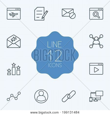 Collection Of Columns, SEO Test, Guest And Other Elements.  Set Of 12 Search Outline Icons Set.