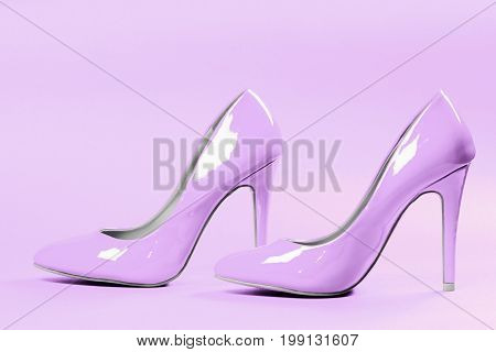 Bright purple high heels sexy shoes are on bright purple background.