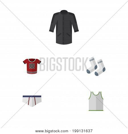 Flat Icon Clothes Set Of Underclothes, T-Shirt, Foot Textile And Other Vector Objects